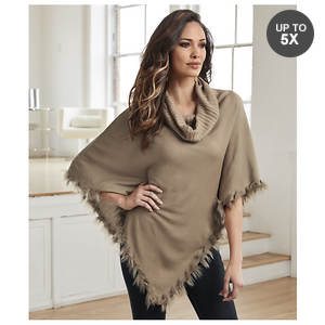 Fur-Trimmed Cowl Neck Poncho