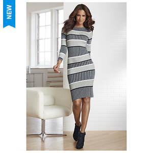 Striped Rib Sweater Dress