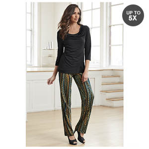 Drape Neck Jewel Tone Pant Set