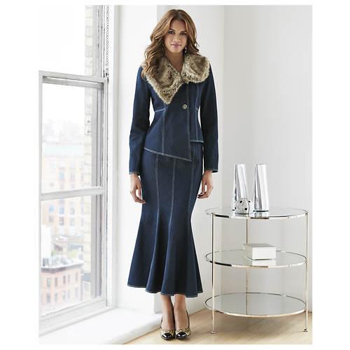 Denim Fur-Trimmed Suit