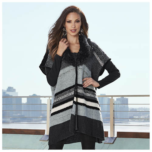Fur Collar Striped Cardigan