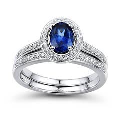 Lab Sapphire Bridal Set
