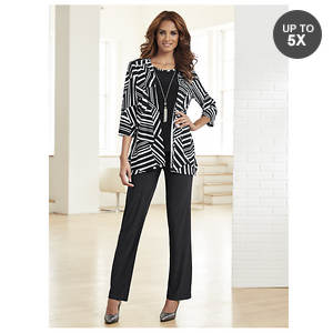 Striped Mock Jacket Pant Set
