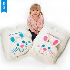 Personalized Cuddle Bunny Floor Pillow - Blue