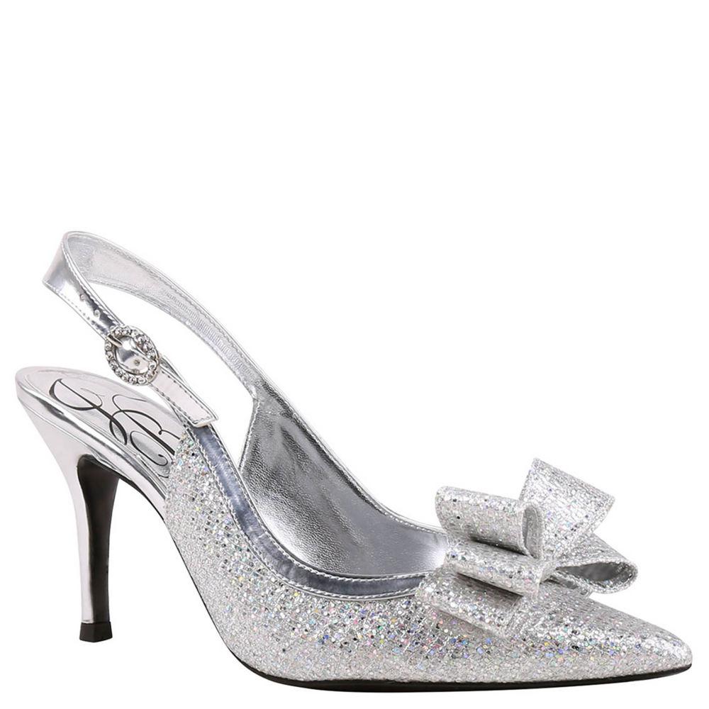36bf86ef73b Women s J. Renee Charise Slingback 8 W Silver Glitter Fabric