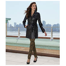 Genuine Leather Belted Trench Coat