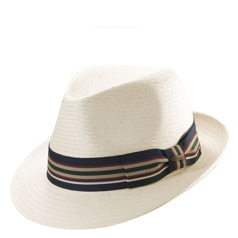1950s Mens Hats | 50s Vintage Men's Hats Scala Classico Mens Toyo Stripe Ribbon Fedora Bone Hats M $54.95 AT vintagedancer.com