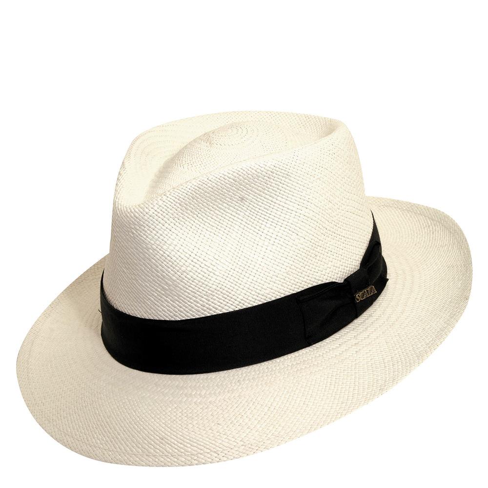 1940s Mens Hats | Fedora, Homburg, Porkpie Hats Scala Panama Mens Panama C-Crown Fedora White Hats M $119.95 AT vintagedancer.com