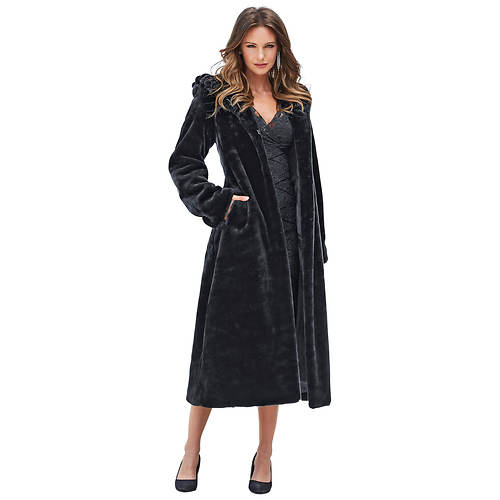 Faux Fur Hooded Full-Length Coat