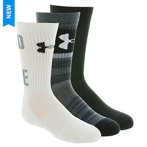 Under Armour Boys' 3-Pack Next Statement 2.0 Crew Socks