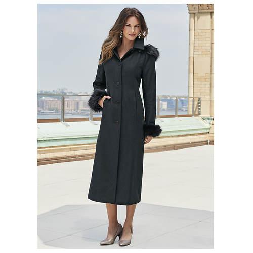 Full-Length Hooded Wool Coat