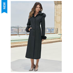 Full-Length Hooded Wool Coat