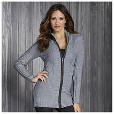 Cable Knit Zip-Up Cardigan