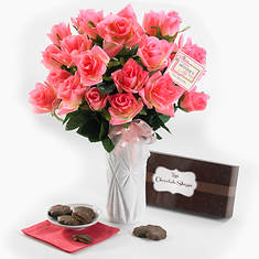 Personalized Sweetheart Roses & Chocolates