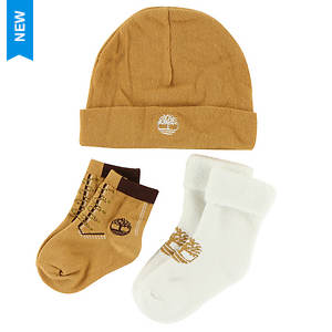 Timberland Kids' THG3003 Baby Bootie and Beanie Gift Set