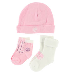 Timberland Girls' THG3003 Baby Bootie and Beanie Gift Set
