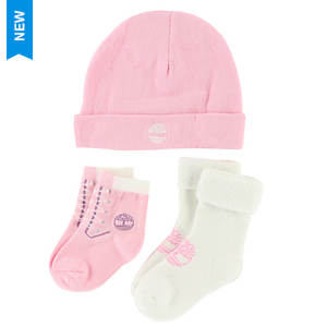 Timberland Girls' THG3003 Baby Bootie and Beanie Gift Set