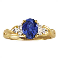 Women's 10K Gold Lab-Created Blue/White Sapphire Ring
