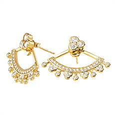 Gold-Plated Floral Front & Back Earring