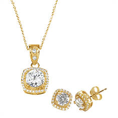 Halo CZ Earring & Necklace Set