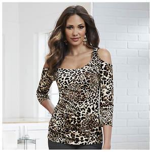 Leopard Cold Shoulder Top