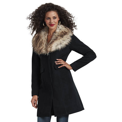 Faux Fur Collar Car Coat