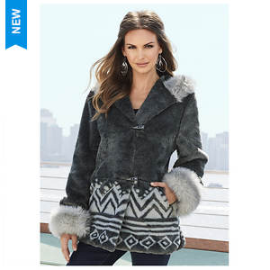 Ethnic Faux Fur Jacket