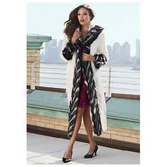 Full-Length Contrast Trim Coat