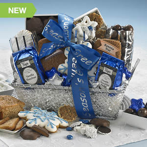 Personalized Silver and Blue Royalty Gift Basket