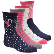 Stride Rite Girls' 4-Pack Navy Nina Crew Socks