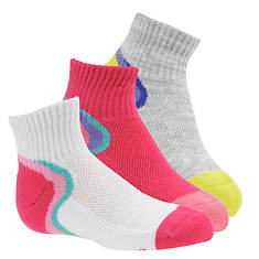 Stride Rite Girls' 3-Pack Wave Sport Quarter Socks