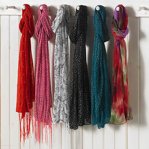 Lavello Designer Scarf - Red with Fringe