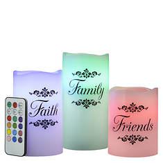 Faith Family Friends Color Changing Candle Set