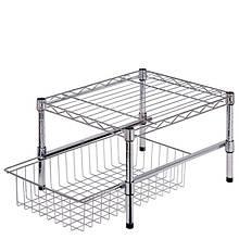 Adjustable Shelf with Basket Cabinet Organizer