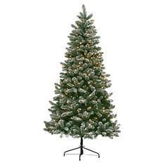 7' Pre-Lit Flocked Christmas Tree