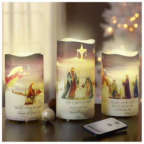 3-Piece Nativity LED Candle Set