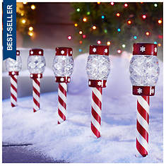 Candy Cane Solar 5-Light Set