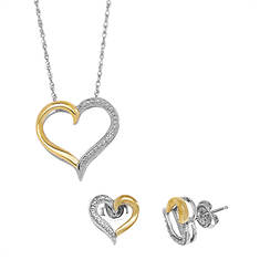 Diamond Heart Earring & Necklace Set