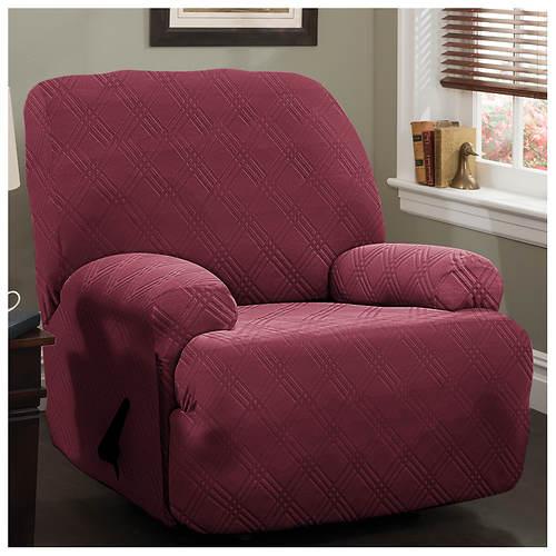 double diamond stretch slipcover jumbo recliner stoneberry. Black Bedroom Furniture Sets. Home Design Ideas