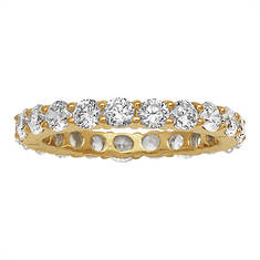 Women's CZ/14K Gold-Plated Sterling Silver Eternity Ring