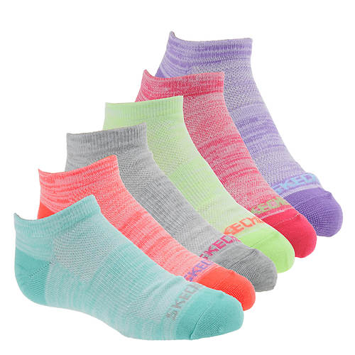Skechers Girls' S106677 6-Pack Non Terry Low Cut Socks
