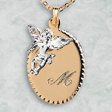 Monogrammed Guardian Angel Pendant