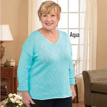 V-Neck Sweater - Aqua