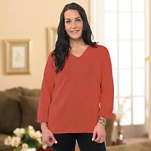 V-Neck Sweater-Terra Cotta