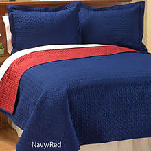 Reversible Quilt Set - Navy/Red