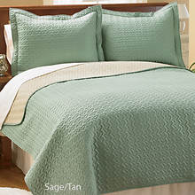 Reversible Quilt Set - Sage/Tan