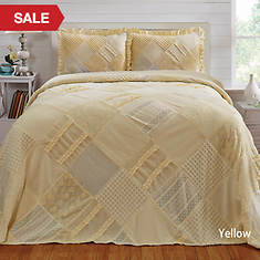 Ruffle Chenille Bedspread - Yellow