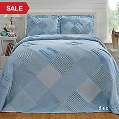 Ruffle Chenille Bedspread - Blue