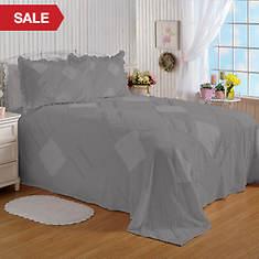 Ruffle Chenille Bedspread - Grey