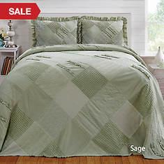 Ruffle Chenille Bedspread - Sage